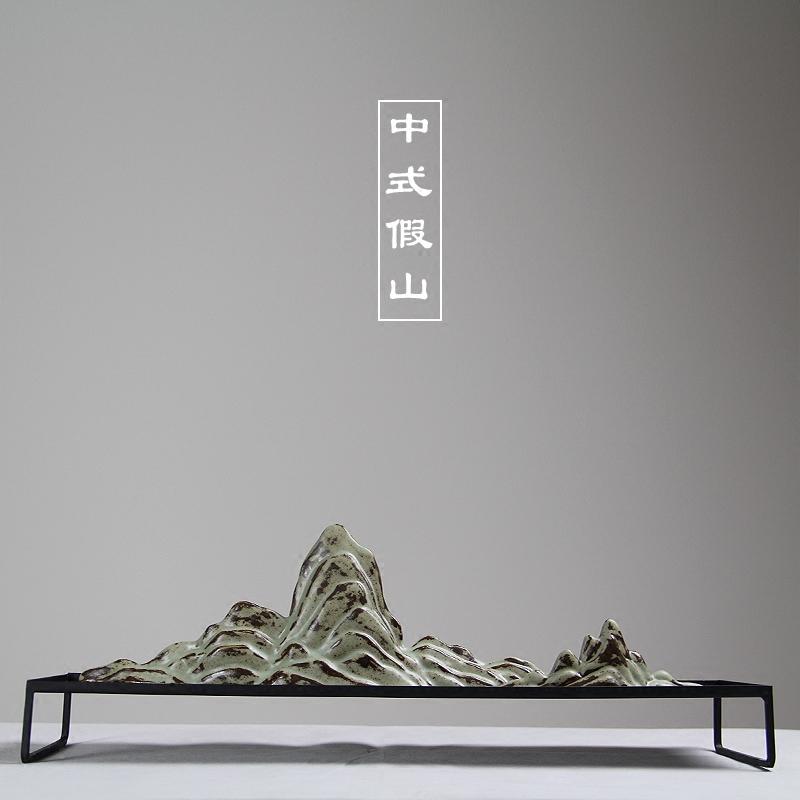 日式创意客厅陶瓷假山太湖石沙盘微景观新中式枯山水禅意摆件
