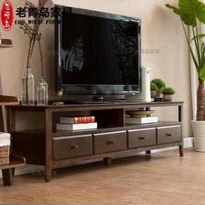 纯实木电视柜黑胡桃色美式简约红橡木电视柜1.8米2米客厅家具包邮