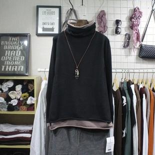 冬季韩版女装宽松显瘦假2件长袖套头针织衫百搭文艺高领加厚毛衣