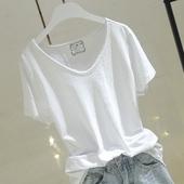 2019夏季新款韩版纯白色短袖t恤女毛边v领竹节棉宽松显瘦半袖上衣