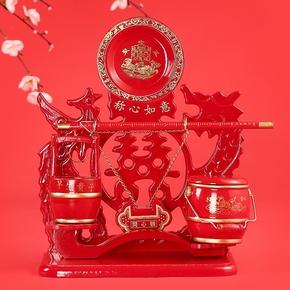 结婚庆用品新娘陪嫁妆女方中式子孙桶三件套马桶实木红色大号摆件
