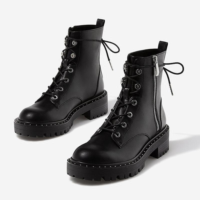 铆钉英伦粗跟靴