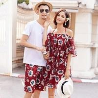 沙滩情侣装夏装套装2018新款连衣裙女海边度假不一样的情侣款裙子