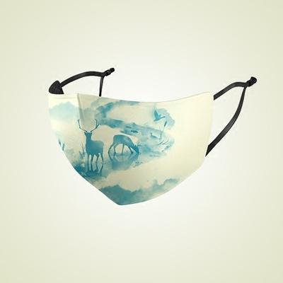 防晒口罩女夏防紫外线 透气正品薄款冰丝可清洗易呼吸水墨印花