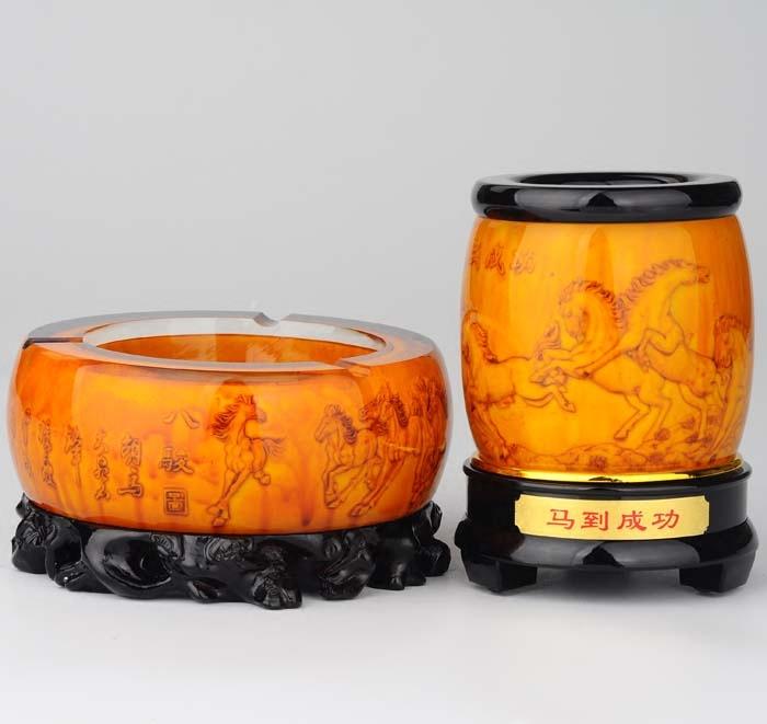 烟灰缸创意套装个性多功能复古时尚高档水晶烟灰缸欧式客厅家用
