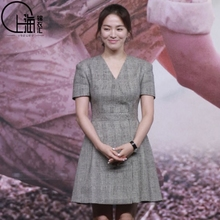 Hong Kong, descendants of Song Huiqiao Sun, a new spring and summer dress in 2017, meets the same dress with waist, waist and short skirt
