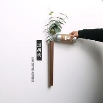 拓境北欧风格日式实木黑胡桃木质壁挂墙上插花器花瓶水培客厅装饰