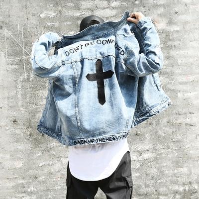 帅呗春装新款潮牌牛仔夹克男士牛仔衫磨破十字架刺绣拉链牛仔外套