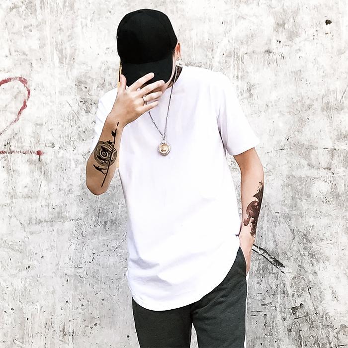 权志龙吴亦凡男女同款 高街加长圆弧下摆纯色短袖 打底衫 T恤 Kanye