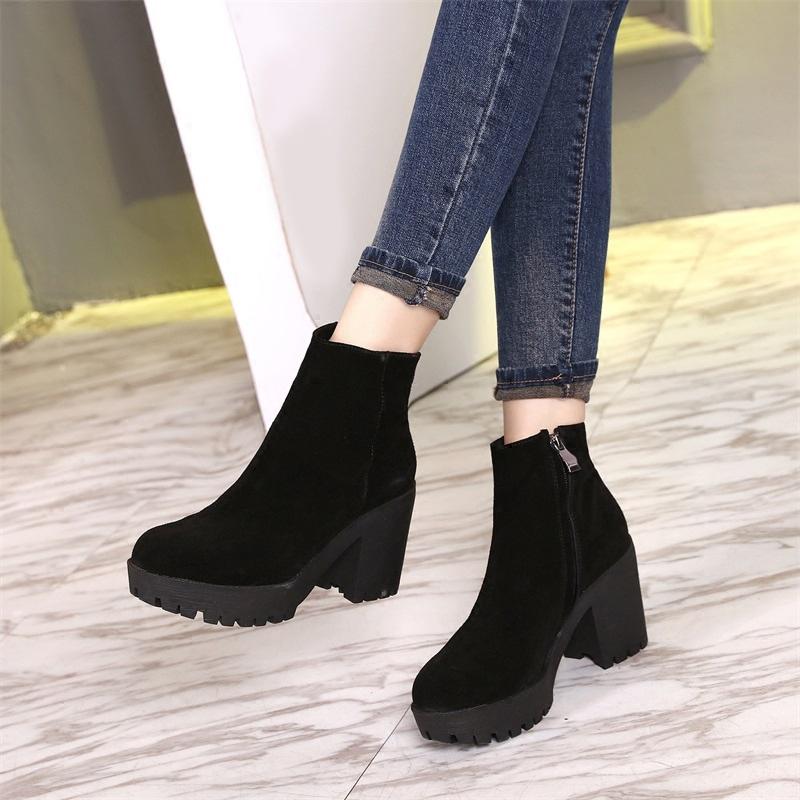 磨砂厚底雪地靴