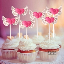 Pink love wings cake decoration insert cloth glitter love wings dessert table decoration baking dress up