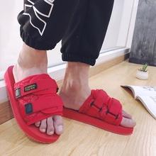 林弯弯红色凉鞋 夏季一字拖凉拖鞋 潮流情侣沙滩鞋 男士 陈冠希同款