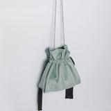 丝绒抽带束口链条包