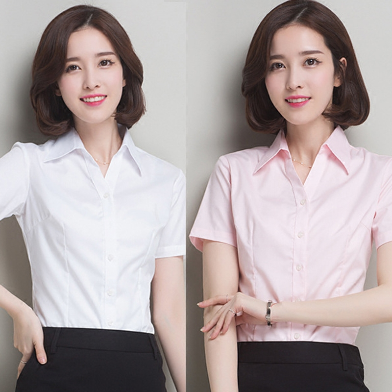 韩版棉白色女衬衫短袖V领职业.