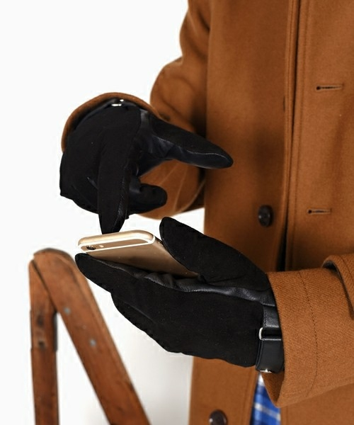 男式柔软羊皮分指手套羊毛保暖舒适五指手套潮 SHIPS 日本直邮