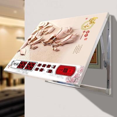 电表箱装饰画遮挡配电箱挂画客厅简约液压无框画钟表挂钟画万年历图片