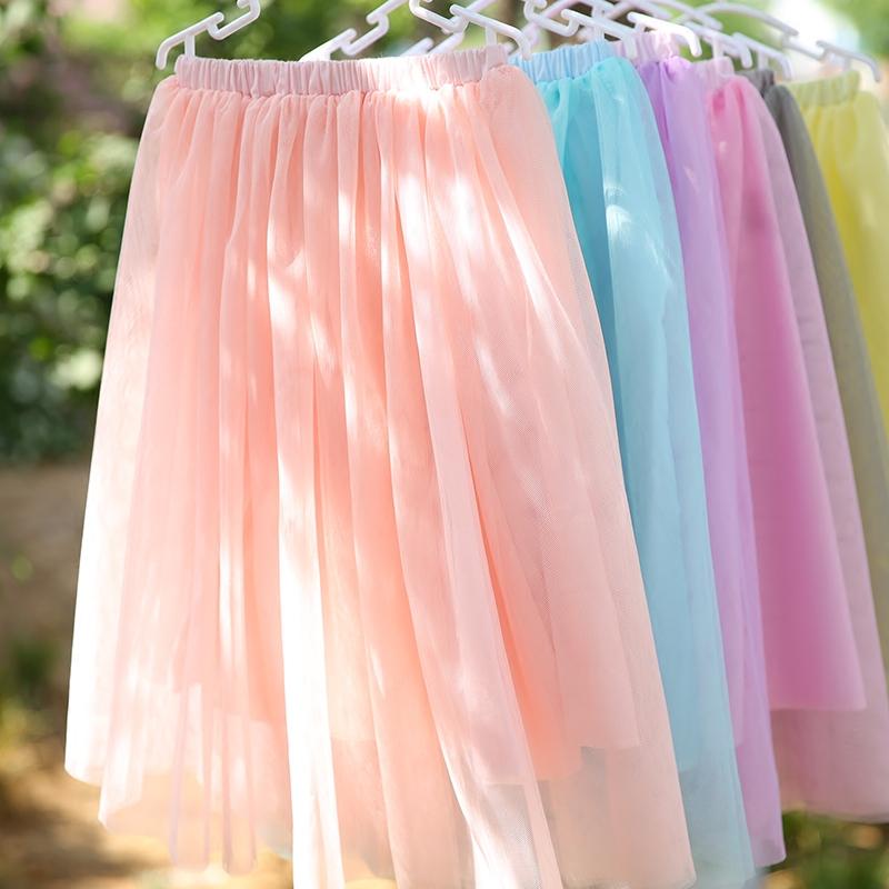女童半身裙中长款夏季 儿童装中大童女孩下半身过膝公主纱裙长裙