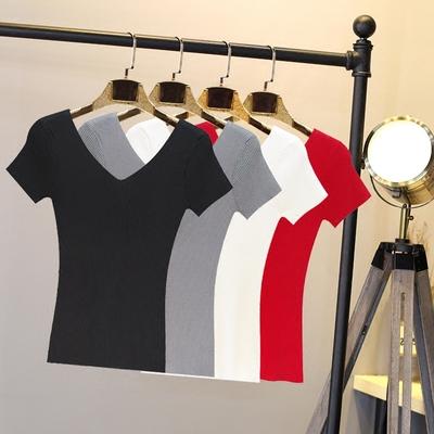 韩版夏季新冰丝针织V领T恤女短款高腰黑色紧身螺纹弹力打底衫上衣