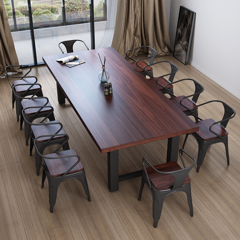 美式餐桌?#30340;?#21150;公桌洽谈会议桌电脑桌