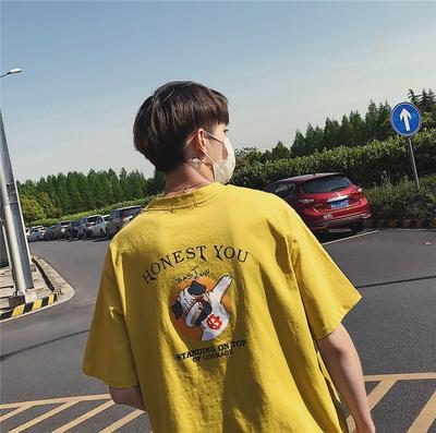 旋律风车短袖t恤男原宿风潮流夏季新款圆领卡通印花宽松情侣半袖