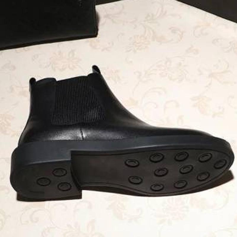 新款粗跟套筒厚底靴子马丁靴 2017 鞋短筒靴子女鞋秋冬季