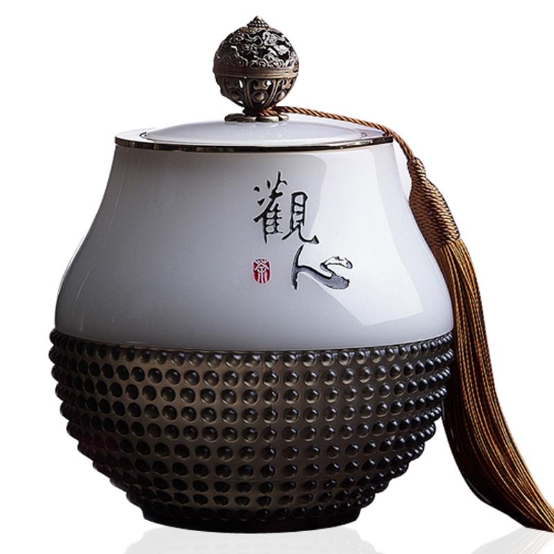 高档商务礼品定制送客户实用摆件琉璃茶叶罐同学聚会议公司纪念品