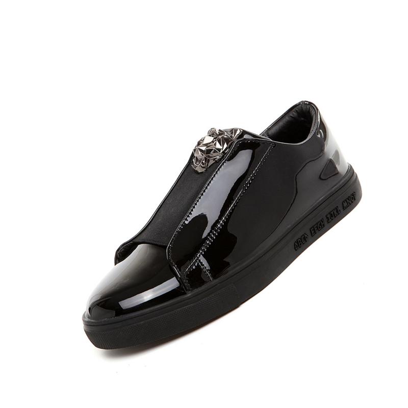 冬季社会小伙鞋子男学生加绒棉鞋韩版潮鞋板鞋一脚蹬懒人亮黑皮鞋