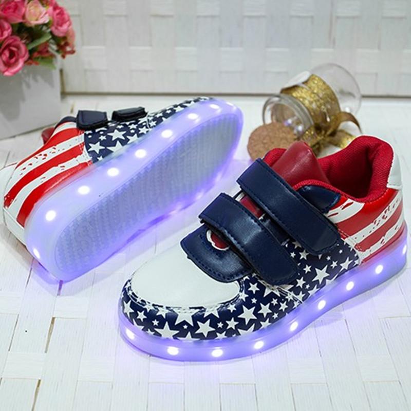 七彩夜光鞋莹光鞋女学生版闪光灯百搭 充电 男 男童儿童鬼步鞋