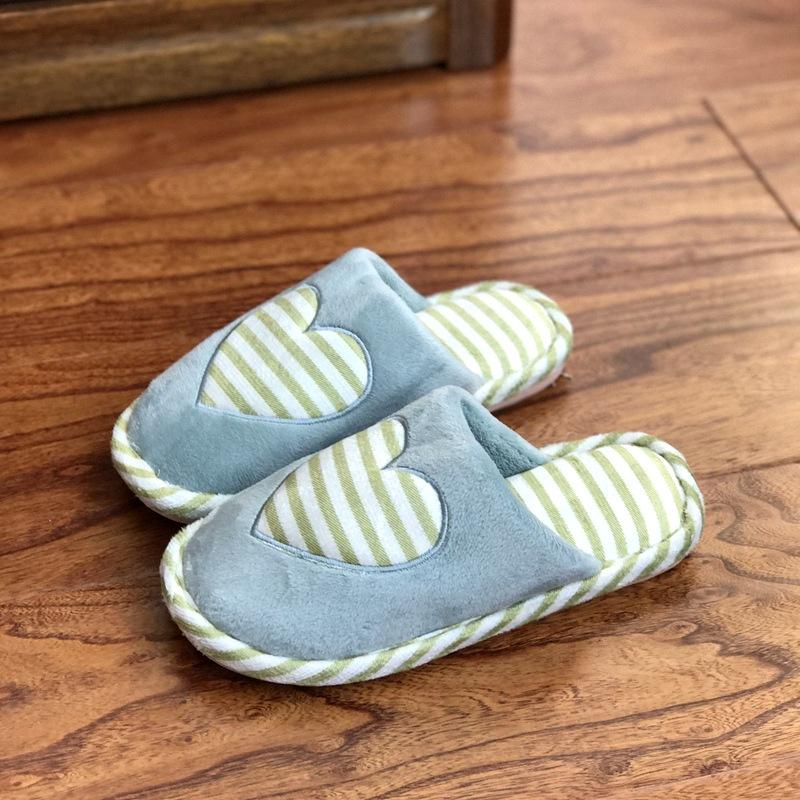 爱心五角星冬款居家棉拖鞋室内家居地板防滑拖鞋男女保暖平跟厚实