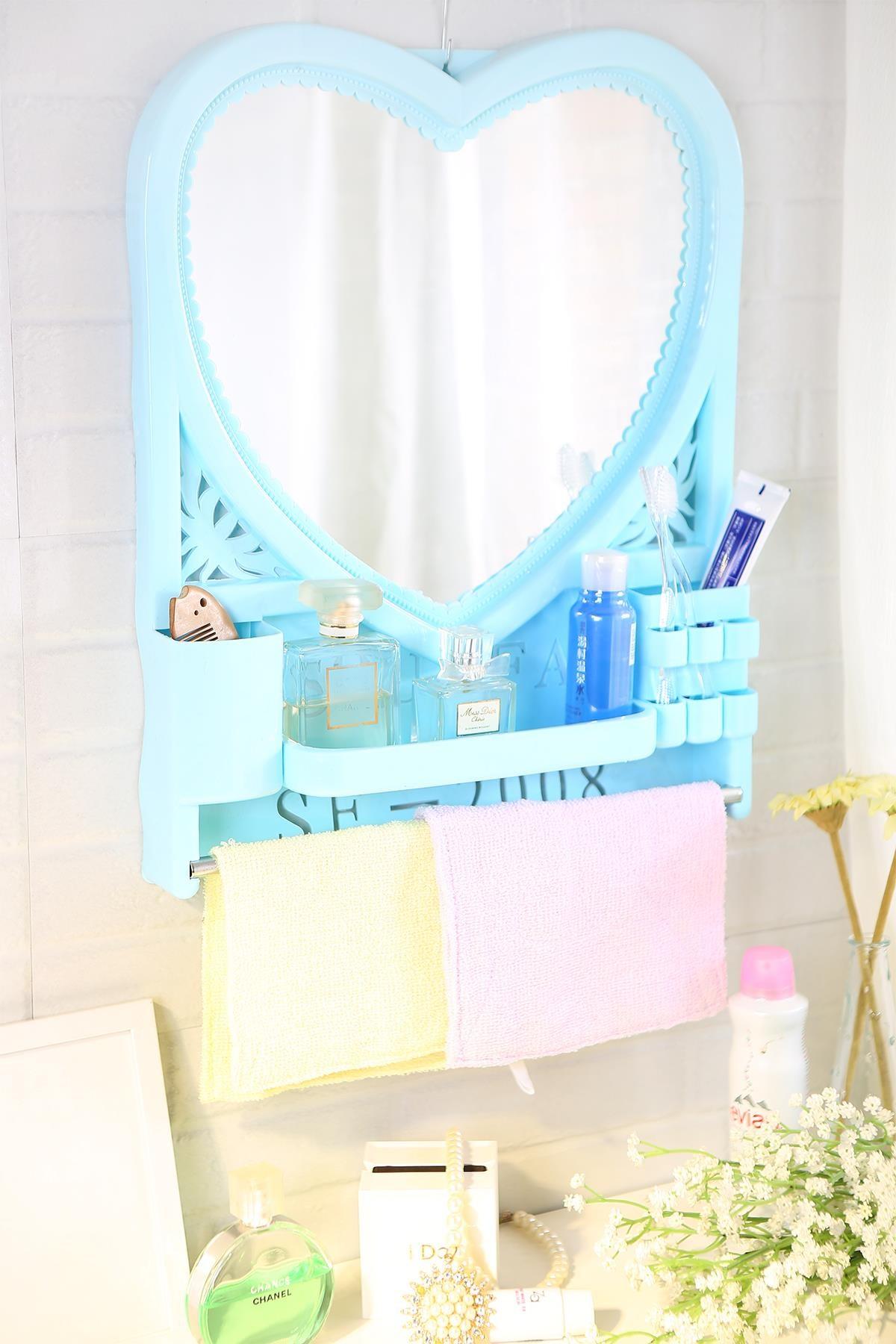 带置物架用镜子 塑料化妆美容浴室镜 壁挂墙镜子 卧室梳妆镜