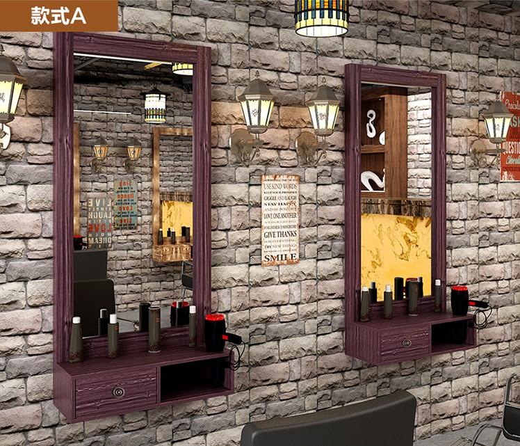 化妆台抽理发店镜框复古欧式台面服装店发廊美发店单面壁挂式镜台