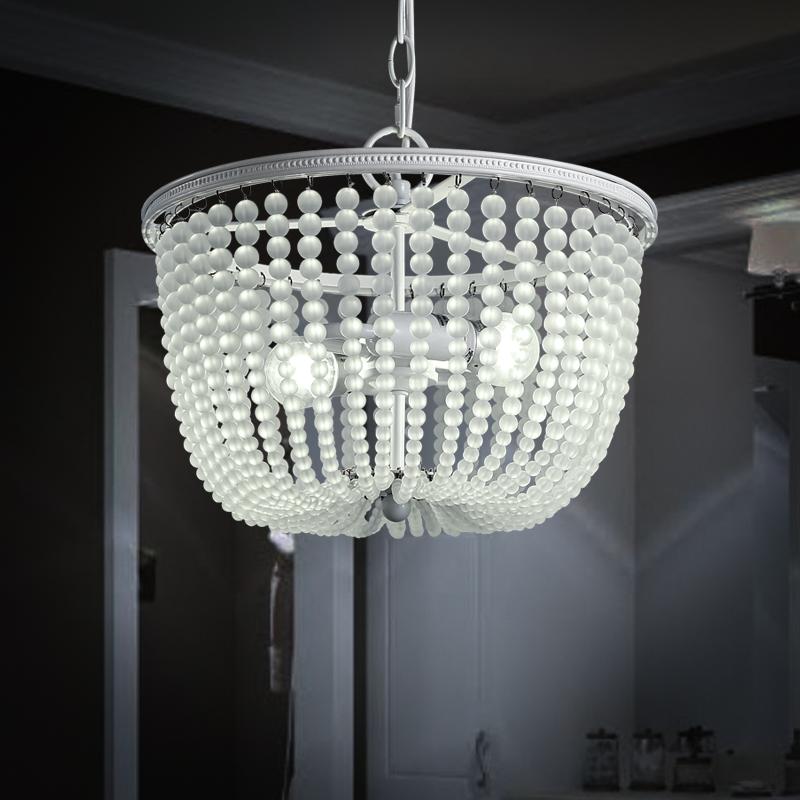 美式乡村别墅客餐厅卧室灯具欧式现代简约创意大气玻璃珠水晶吊灯