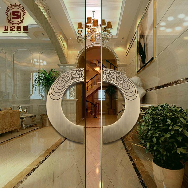 玻璃门木门拉手祥云古铜酒店大门把手 中式仿古半圆雕刻大门拉手