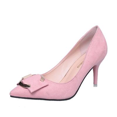 绒面黑色职业鞋韩版婚鞋女鞋 尖头浅口细跟高跟鞋 春秋季鞋