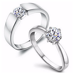 Crystal Couple Ring His and Her Ring Zircon Girls Rings