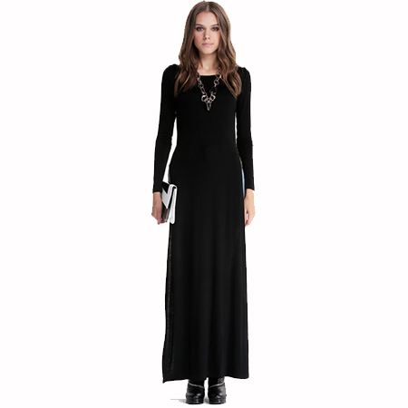 Long Sleeve Side Split Maxi Dresses