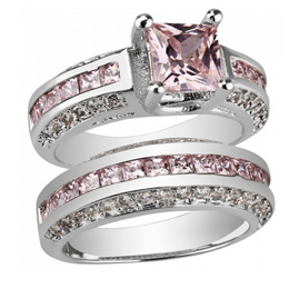 Sapphire Rings 10KT Gold Filled Pink Ring Set