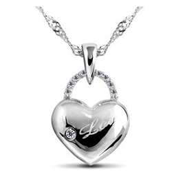 AAA 100% 925 Sterling Silver Jewelry Heart-Shaped Necklaces