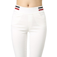 High waist white Leggings female