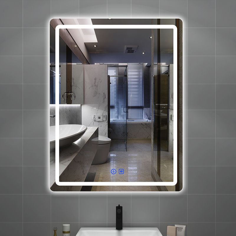 The dressing room bathroom mirror hangs wall bathroom with light anti-fog smart mirror touch screen toilet glow mirror.