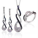 Blue Micro Paving Jewelry Sets