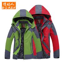 得胜人冬装加厚加绒保暖防风情侣冲锋衣外套 男士女滑雪服登山服