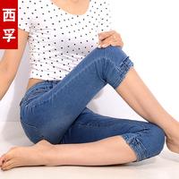 西孚2016夏装新款牛仔七分裤女士中裤韩版铅笔裤显瘦小脚裤短裤子