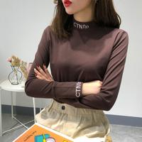 中高领打底衫女秋冬季新款韩版长袖短款内搭上衣学生加绒加厚Tt恤