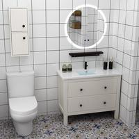 北欧浴室柜组合现代简约吊柜卫生间洗漱台实木柜镜柜洗脸洗手盆柜