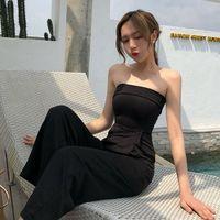 夏季新款韩版chic修身休闲显瘦黑色抹胸高腰九分连体衣阔腿裤女