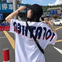 春装女装韩版bf风宽松百搭后背字母印花中长款短袖T恤显瘦上衣潮