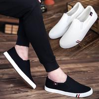夏季男士休闲鞋男鞋一脚蹬懒人帆布鞋男板鞋老北京小白鞋潮流布鞋