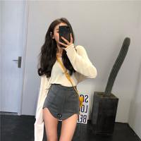 夏装韩版复古高腰裤显瘦黑色裤子不规则网红牛仔裤短裤紧身热裤女