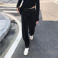 黑色裤子女秋装chic休闲裤韩版宽松阔腿裤丝绒裤高腰直筒裤长裤潮
